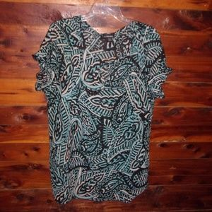 Lane Bryant plus size aqua & black print top
